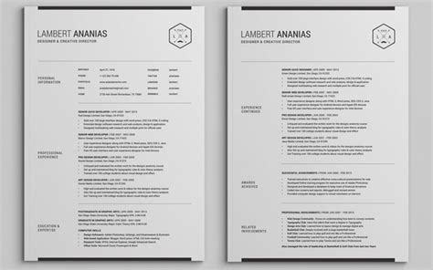 Resume Template 2 Pages by The Best Cv Resume Templates 50 Exles Web Emailing