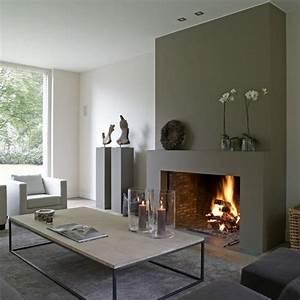 comment decorer son manteau de cheminee galerie d39idees With beautiful couleur pour salon moderne 9 cheminees et poeles une ambiance cosy avec la pierre