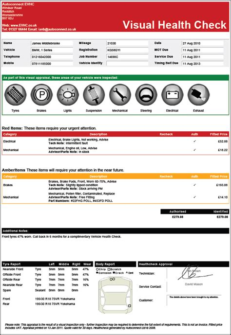 evhc body check electronic vehicle health check system