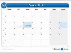 Calendário outubro 2016