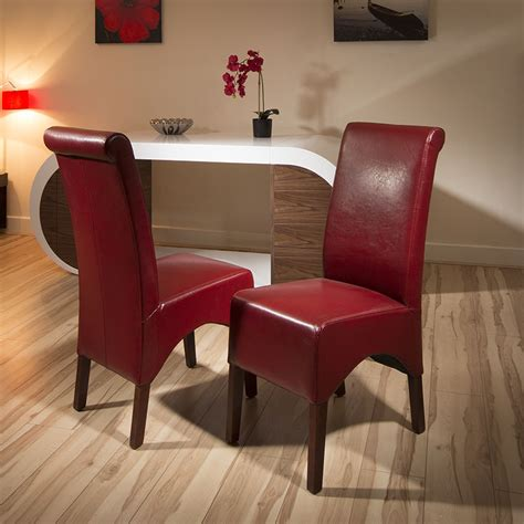 set   luxury dining chairs wine red leather high