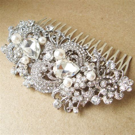 Vintage Style Bridal Hair Comb Victorian Art Deco Rhinestone