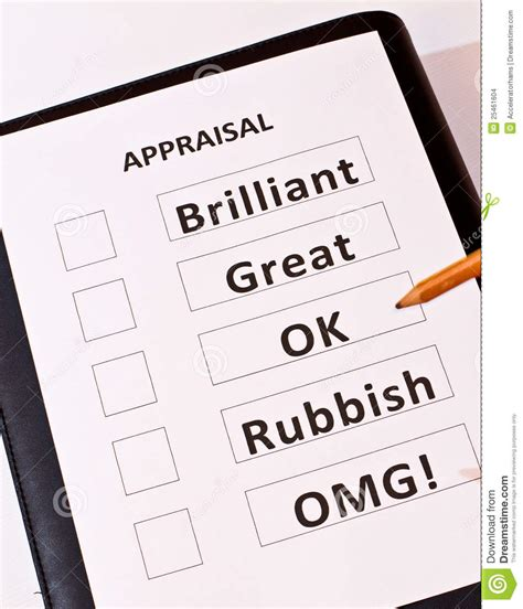 A Fun Performance Appraisal Form Stock Photo