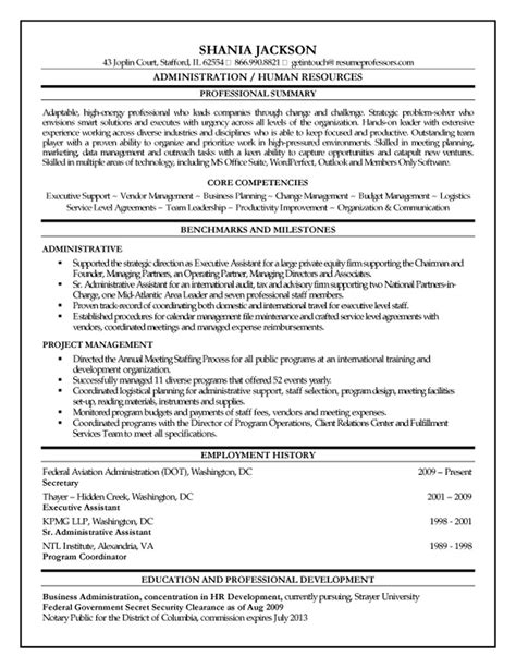 Executive Assistant Resume Sles Australia by Hr Administrator Resume