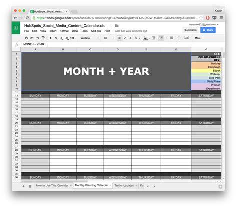 Calendar Template Docs Social Media Calendar Template Docs Planner