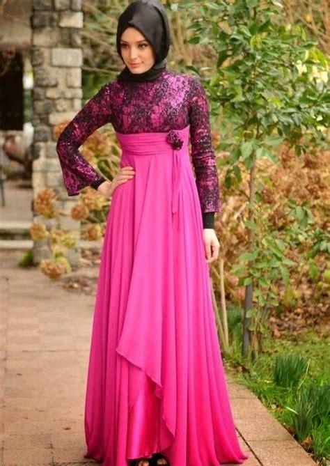 baju pesta muslim brokat modern terbaru victorian style desain baju muslim terbaru