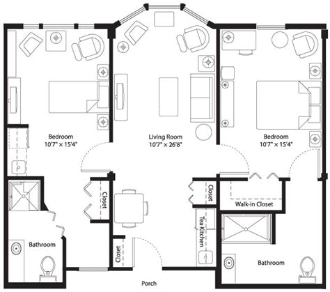 Assisted Bathroom Dimensions by Assisted Living Apartment Floorplan Mansfield Place In