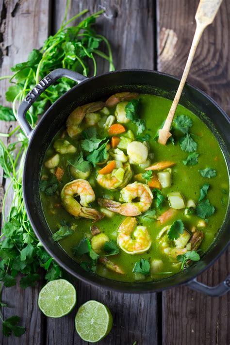 peruvian seafood stew  cilantro broth feasting  home