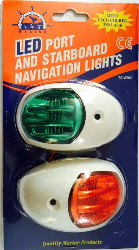 volt led boat navigation lights port starboard white case  nm approved ebay