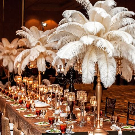 Great Gatsby Wedding Feather Centerpieces Candelabras