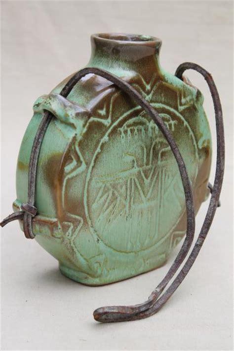 vintage Frankoma pottery Thunderbird canteen flask water