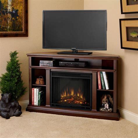real flame churchill   corner media console electric