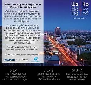 win a wedding and honeymoon in west hollywood from With win a free honeymoon