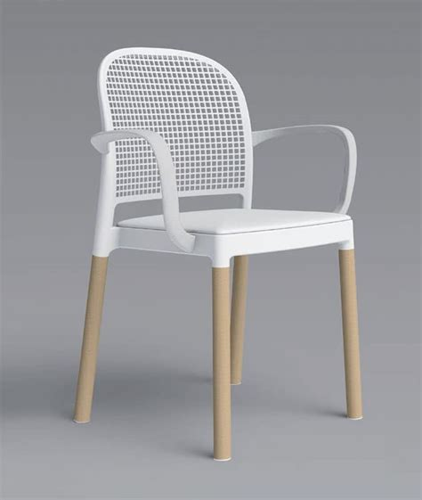 Panama Wooden Chairs by Stackable Amchair With Shell In Polymer Beech Base