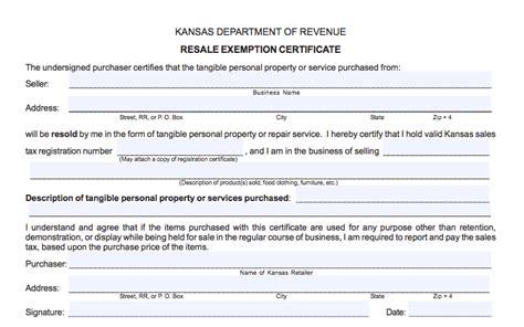 kansas resale certificate