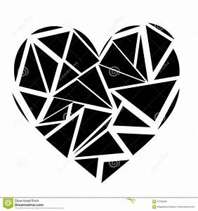 Monochrome Geometric Mosaic Broken Heart Shape In Black ...
