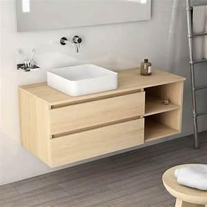 meuble salle de bain chene clair 120 cm 2 tiroirs terra With meuble salle de bain en chene clair