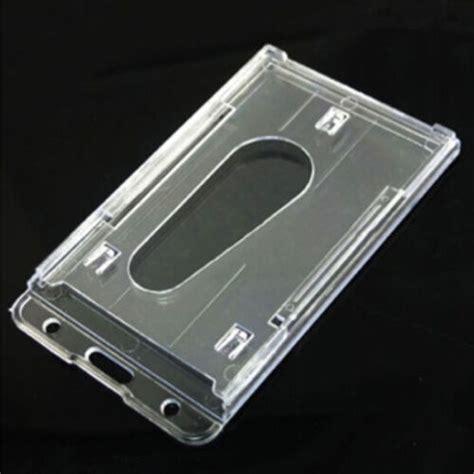 vertical hard plastic id badge holder double card multi transparent clear ebay