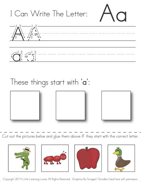 preschool cut and paste alphabet worksheets