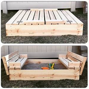 DIY Sandbox with Fold-Out Seats - Mrs Happy Homemaker
