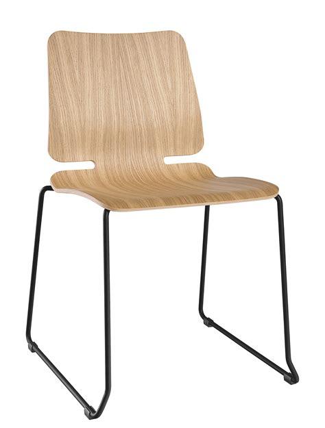 noa stackable chair sled base wood metal