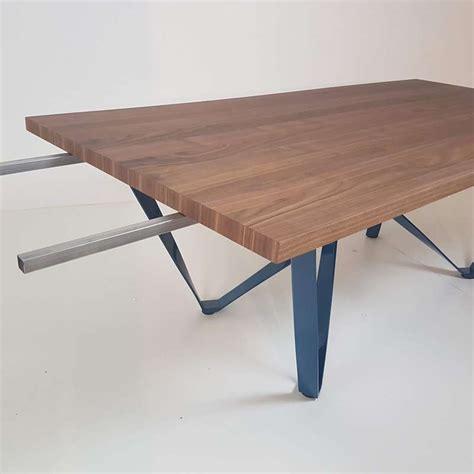 table design extensible en m 233 tal et bois wave 4 pieds