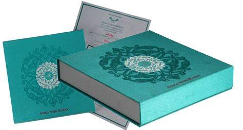 Wedding Card Box In Exquisite Aquamarine & Silver Color