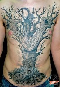 Grey Ink Old Tree Tattoo On Man Chest | Tattooshunt.com
