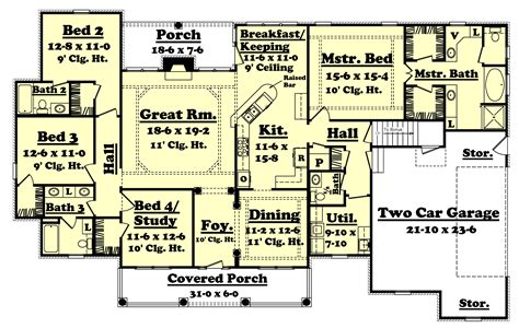 Country Style House Plan 4 Beds 3 5 Baths 2500 Sq/Ft