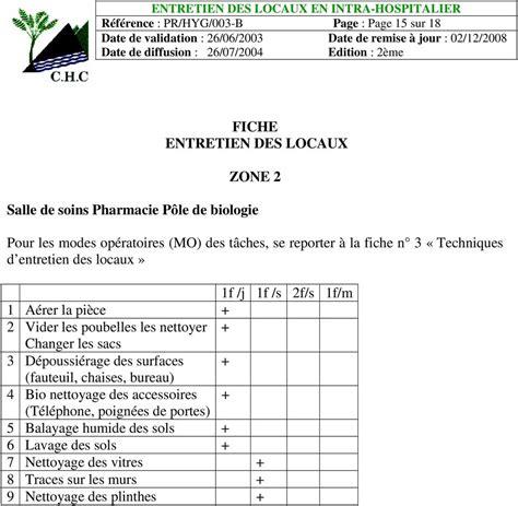 protocole nettoyage bureau annexes jointes annexe 1 fiches d entretien par zone