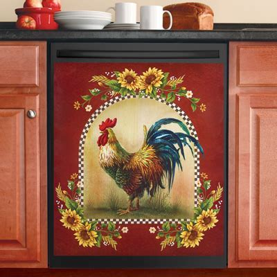 Sunflower and Rooster Country Dishwasher Magnet from