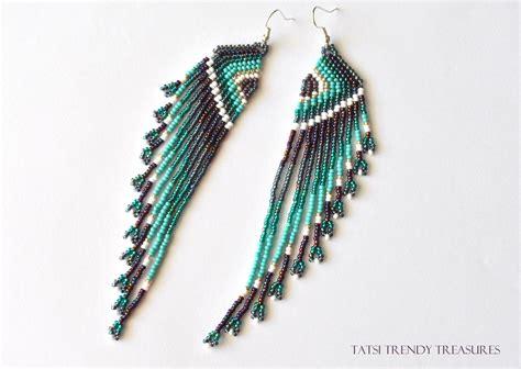 perle de rocaille boucles d oreille tiss 233 es en perles de rocailles ailes