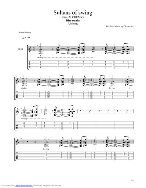 Sultans Of Swing Guitar Pro by Sultans Of Swing Guitar Pro Tab By Dire Straits