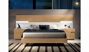 Lit Moderne Design : lit design en bois 160x200 avec chevets t te de lit led pour chambre adulte ~ Nature-et-papiers.com Idées de Décoration