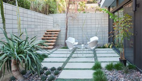 step down patio patio modern with concrete pavers glow in