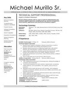 resume for technical it technical support resume
