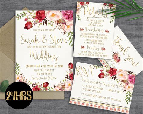 printable wedding invitation template   sunnyprint