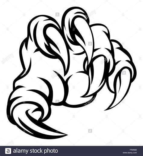 monster claw hand illustration stock photo