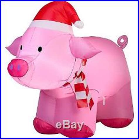 outdoor christmas decoration airblown inflatable pig pink