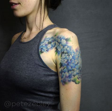 hydrangea watercolor tattoo completed  pete zebley