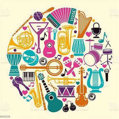 Circle Instruments Musical Vector Form Instrument Icons