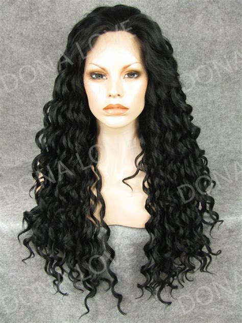 Black Curly Waist Length Synthetic Lace Front Wig Sny054