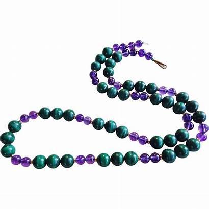 Malachite Necklace Amethyst 14k Length