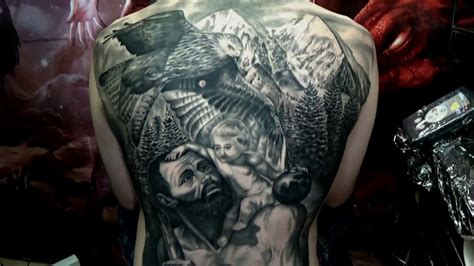My New Tattoo!! Realism Black And Grey Back Piece