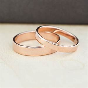 rose gold wedding band set gold wedding rings 3mm and 4mm With rosegold wedding rings