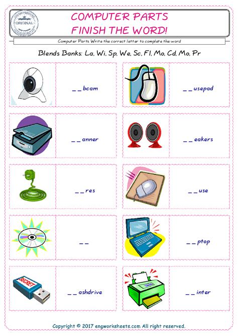 computer parts esl printable picture english dictionary