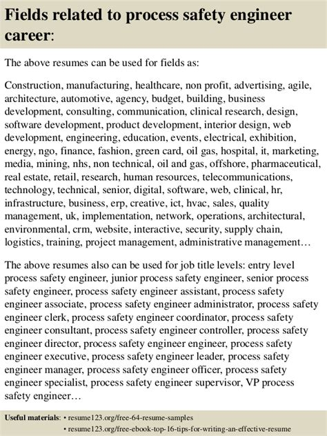 top 8 process safety engineer resume sles