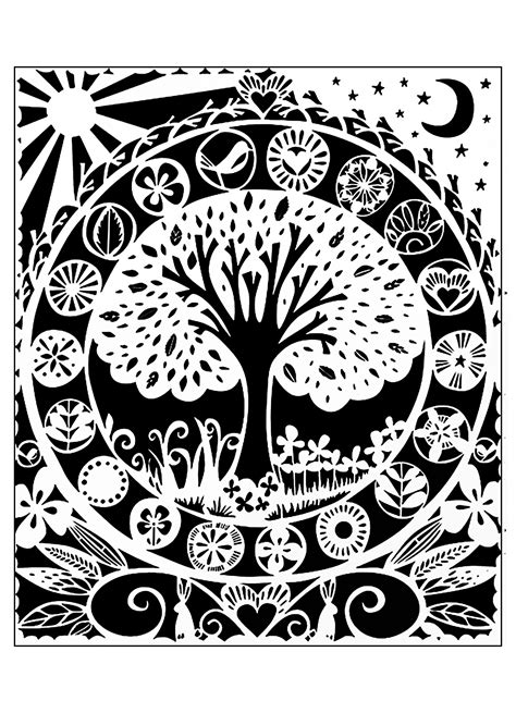 tree white black flowers adult coloring pages