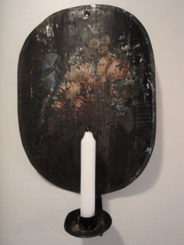 Tin Candle Sconces - antique toleware tin candle sconce primitive early