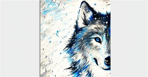 paint nite winter wolf  snow painting classes